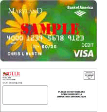 A facsimile of the Unemployment Insurance debit card and the white Unemployment Insurance debit card envelope